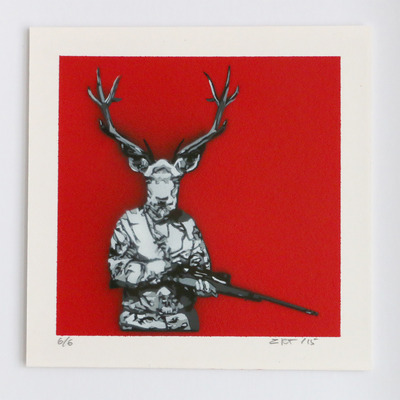 "Red ""open season"" 6 color layer art micro stencil hunting deer"