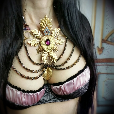 Sacred heart statement harness bib necklace choker