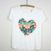 Chiffon Heart Top with Pearl Beads (Brand New)