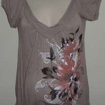 Tan Short Sleeve Shirt with Pink/Black Flowers-Cozy Casual Maternity Size Small  SF0413