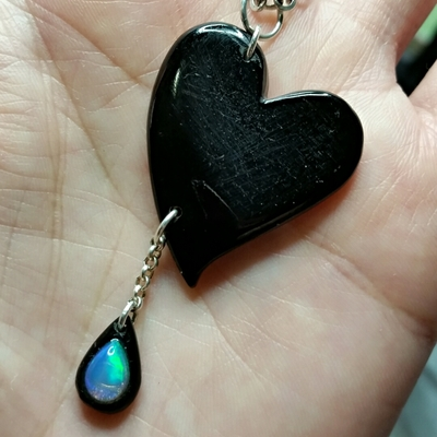 Witch's heart whitby jet & opal pendant