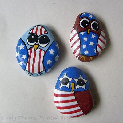 Usa owls painted rocks - set of 3 - free usa shipping