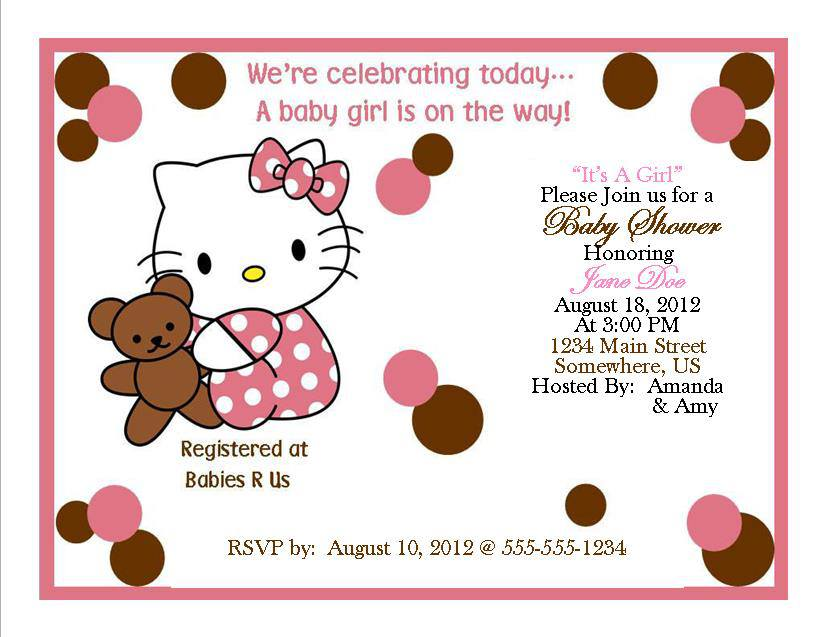 Hello Kitty Baby Shower Invitation 1 Southern Desktop Publishing