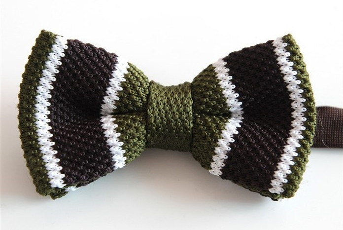 Knit Bow Tieeen Brown And White Knitted Bow Tiebowtie For