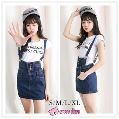 S-xl denim blue suspender skirt overalls sp151948