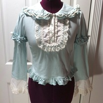 S blue green mint long sleeve lolita cutsew blouse white lace pan collar victorian top