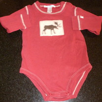 Red Long Sleeve Moose Onesie-Janie and Jack Size 12-18 Months  GS413