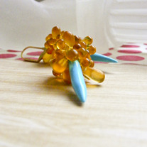 Amber Tears Gold and Turquoise Earrings