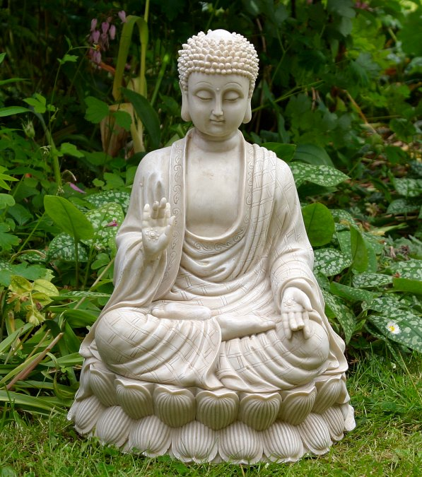 sitting meditating shakyamuni buddha white stone finish. Black Bedroom Furniture Sets. Home Design Ideas