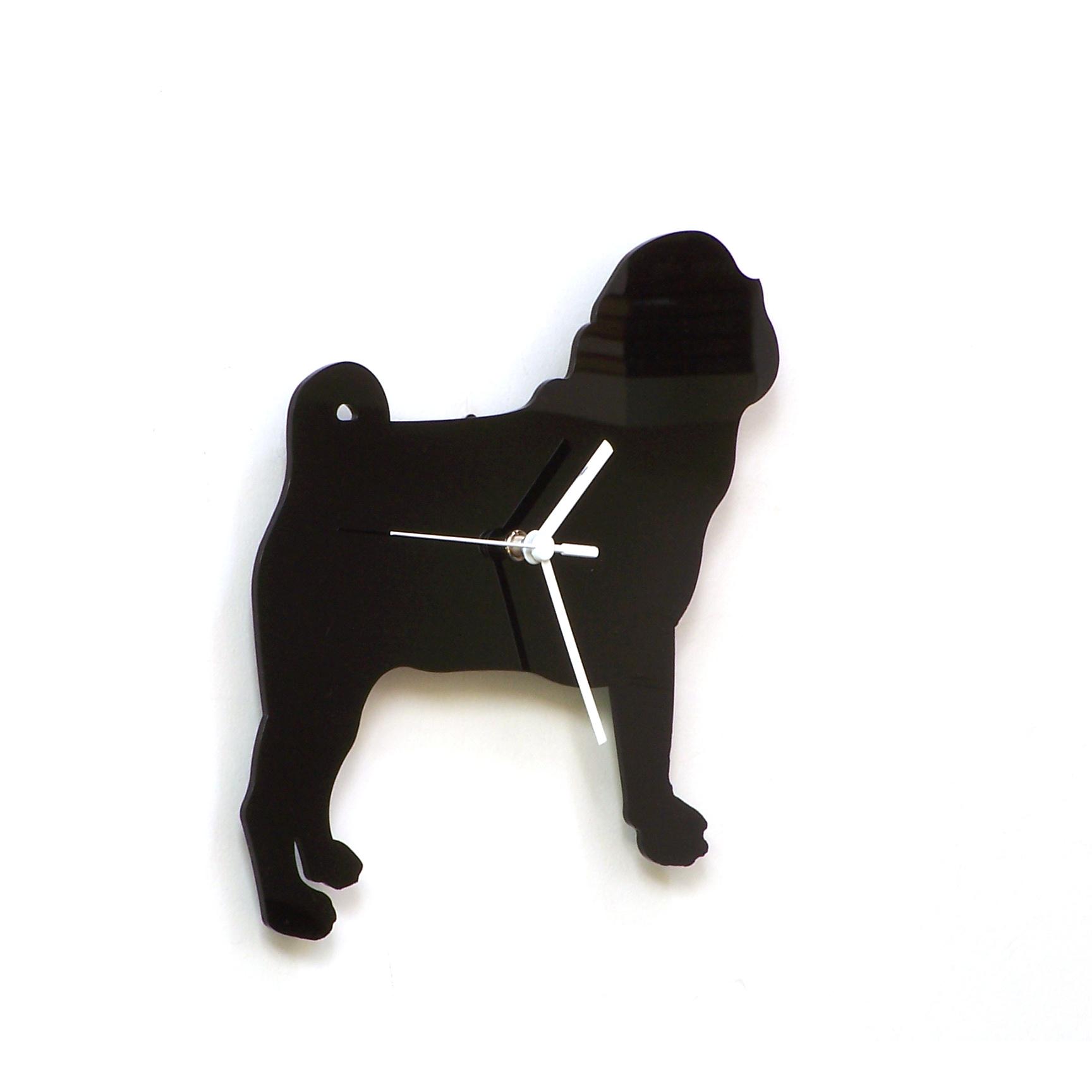 Animal Wall Art pug dog - black acrylic wall clock, a piece of wall art, animal