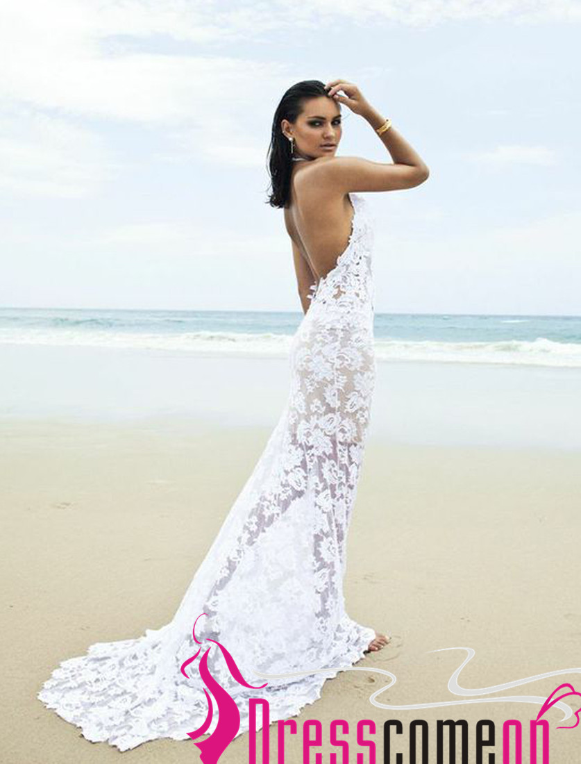 Beach Backless Wedding Dress Sexy Mermaid Lace White Open Backs ...