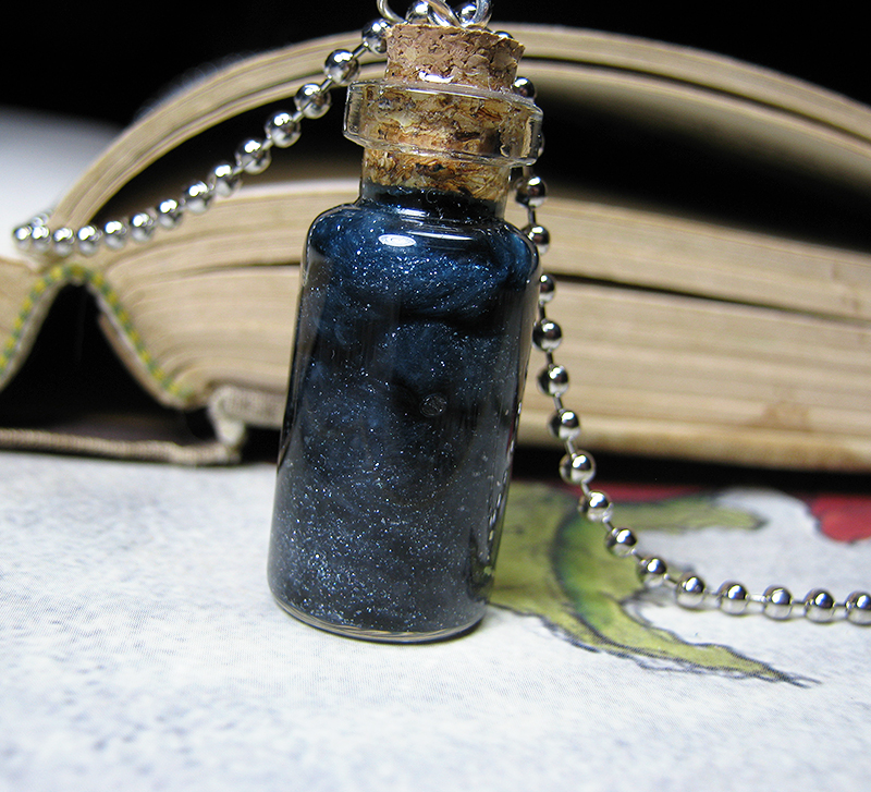 glass sea big vial ocean tears shells necklace pendant mermaid star bottle