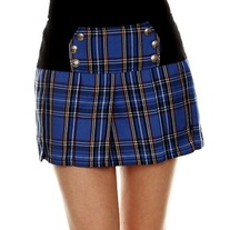 XL black blue plaid punk pleated skirt military mini