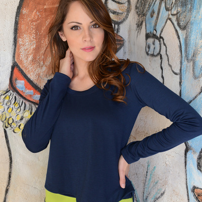 Tonatiuh ponte knit asymmetrical navy top