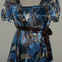 Blue/Brown Short Sleeve Top with Brown Ribbon Tie-Duo Maternity Size Large  CL413