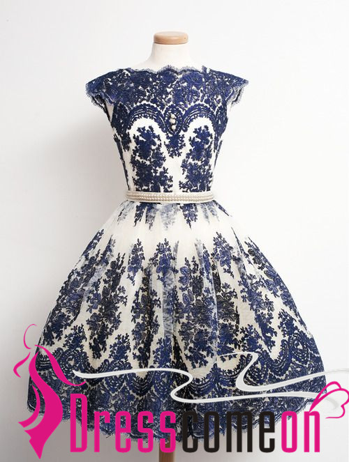 Vintage Navy Blue Short Prom Dress Ball Gown Lace Homecoming ...