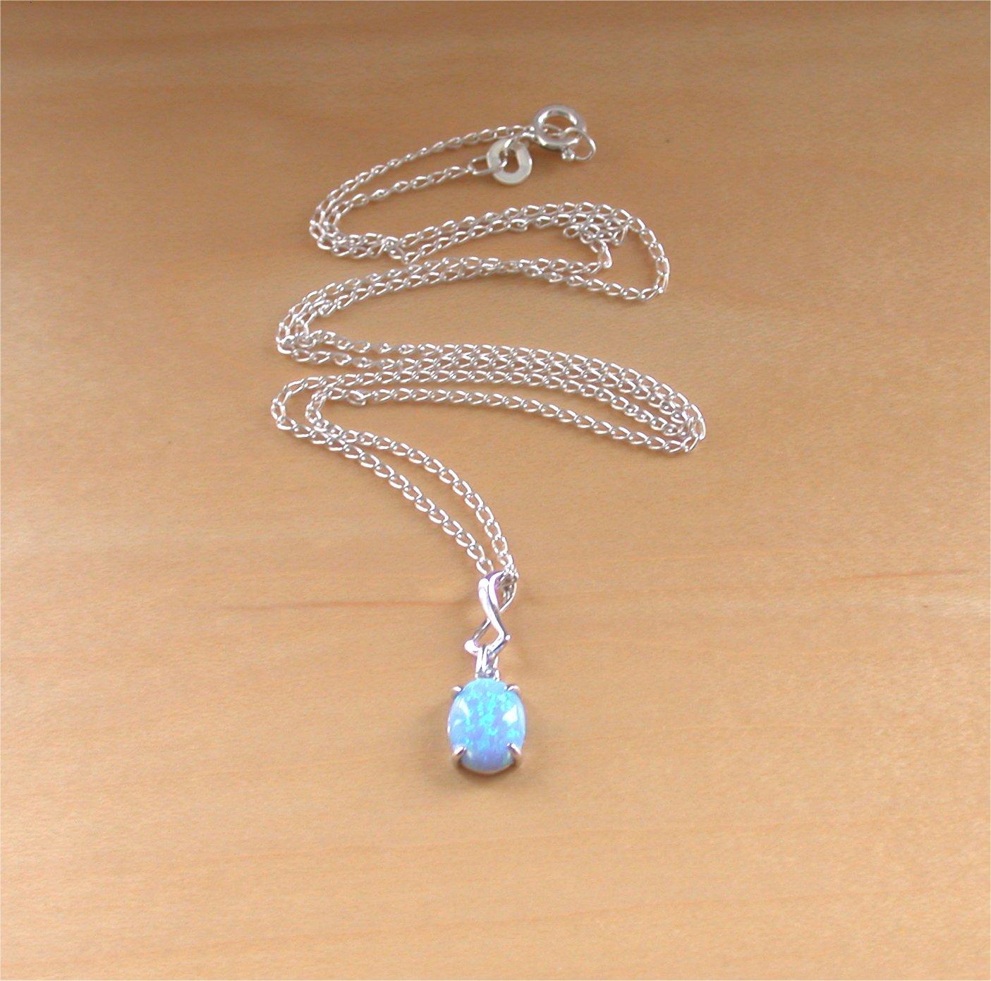 925 blue opal pendant 18 silver chainblue opal necklaceblue 925 blue opal pendant 18 silver chainblue opal necklaceblue opal aloadofball Gallery
