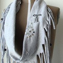 Gray Cotton Fringed Eco Cowl Neck by Sardinella Sardine
