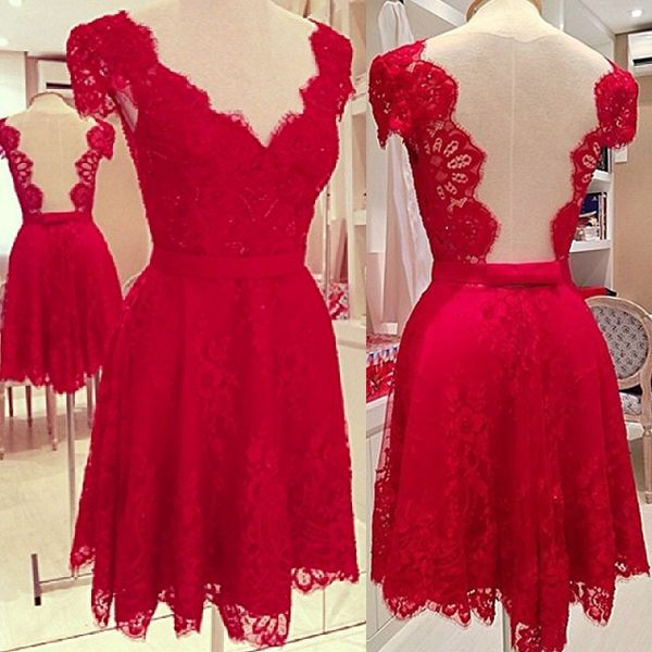 Short Red Homecoming Dress A Line V Neckline With Sleeves Lace