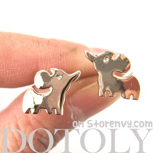 Elephant Silhouette Animal Stud Earrings in Rose Gold