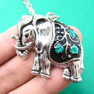 Decorative Fancy Elephant Animal Charm Necklace in Silver with Floral Detail