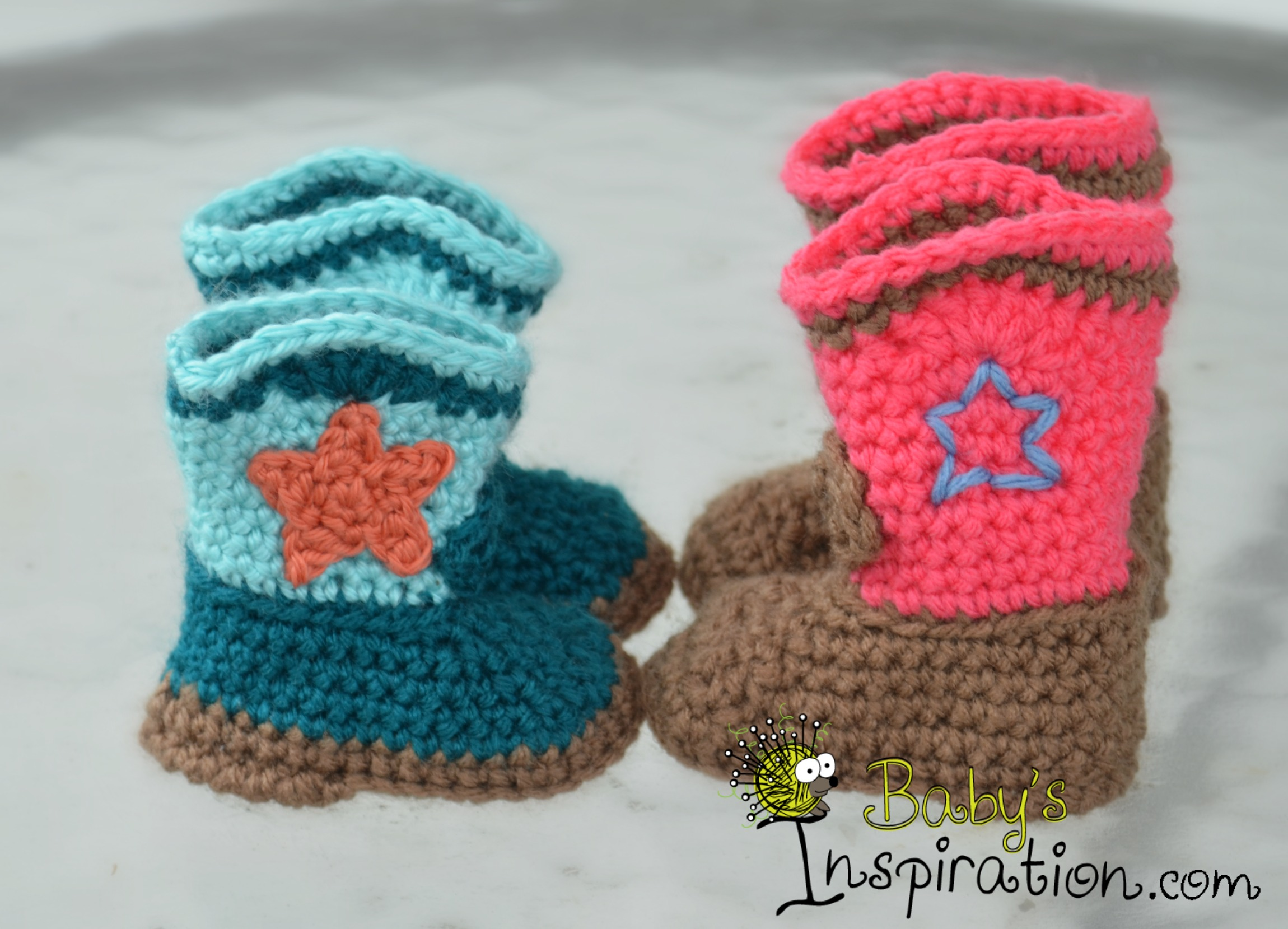 Crochet Mini Cowboy Hat Pattern : Crocheted Cowboy or Cowgirl Boots ? Babys Inspiration ...