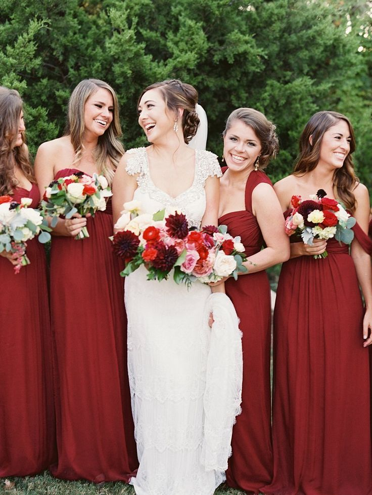 long bridesmaid dresses, red bridesmaid dresses, one shoulder ...