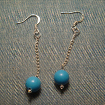 Blue-dyed Jade with Silver- Plated Chain Earrings
