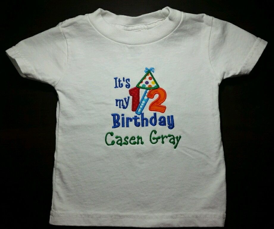 Embroidered colorful party hat half birthday shirt made for Made to order shirts online