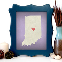 Image of Indiana State LOVE, Giclee Art Print, 8 x 10 inches