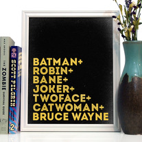 Image of Batman Typography Art Print, 8 x 10 inches