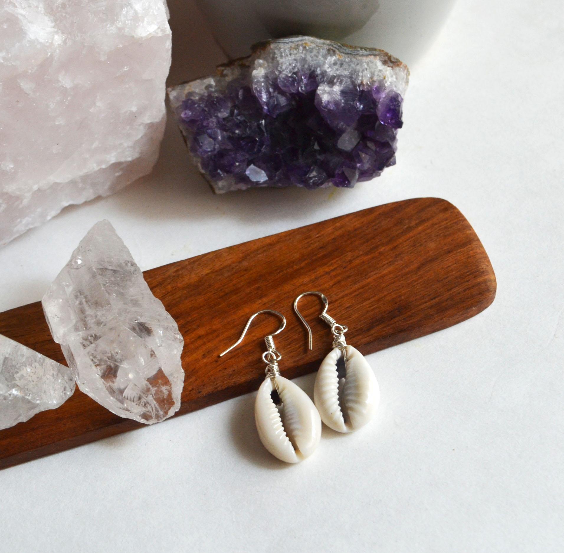 Cowrie Shell Earrings, Small Shell Earrings, Cowrie Shells, Beach  Earrings  Thumbnail 2