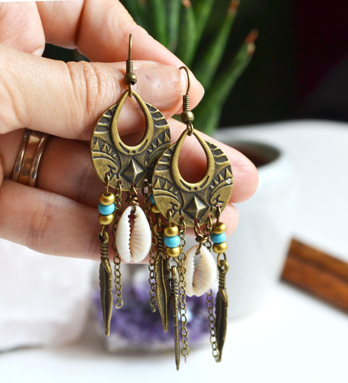 Bohemian Shell Earrings, Long Boho Earrings, Talisman Earrings, Festival  Earrings, Cowrie Shell