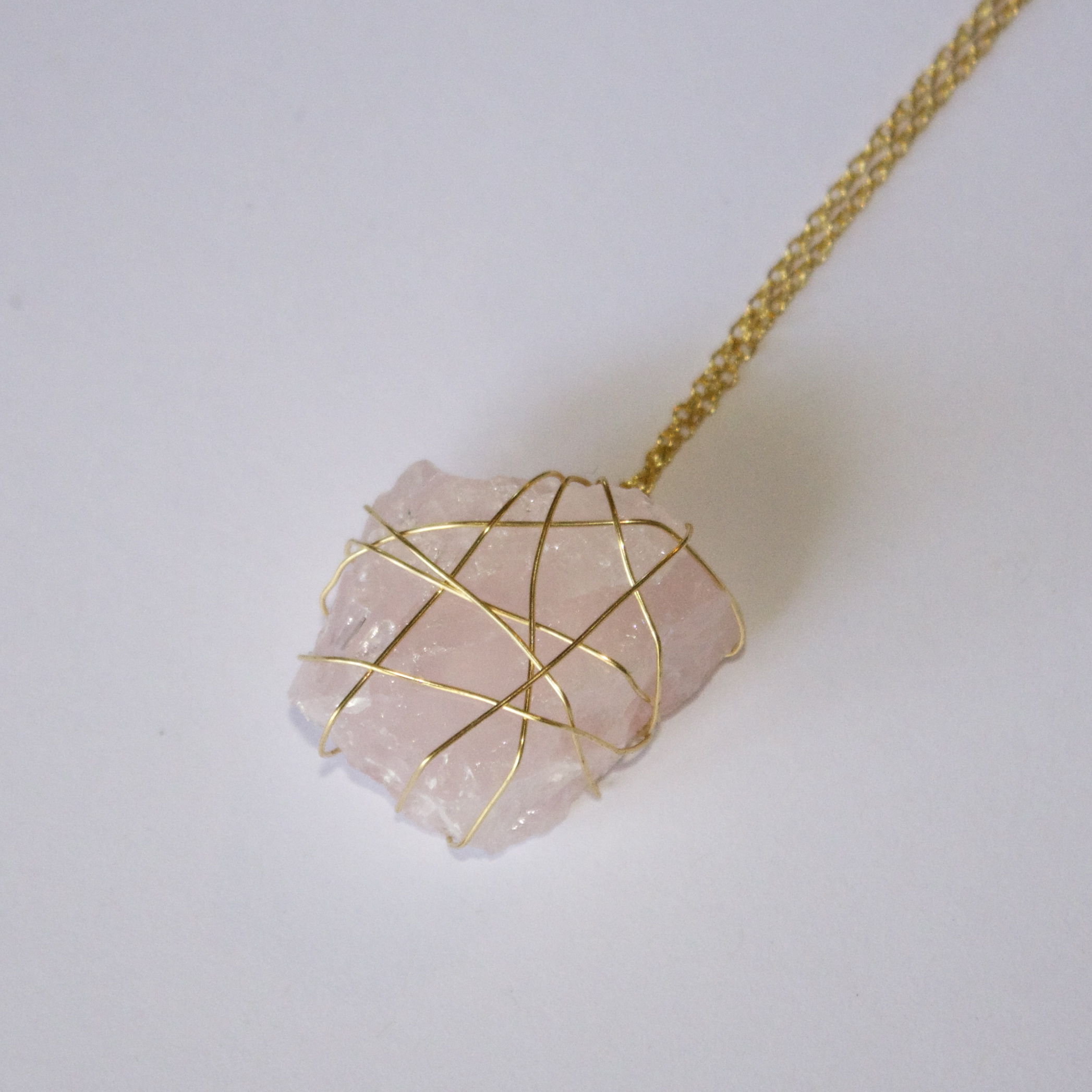 leaf necklace gemstone with quartz produkt sage rose