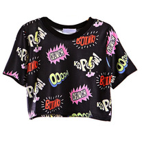 Comic Print Crop Top