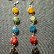 Multi-Color Millefiori Glass Dangle Earrings