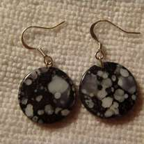 Black & White Granite Coin Earrings