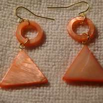 Coral Mother of Pearl Circle & Triangle Earrings
