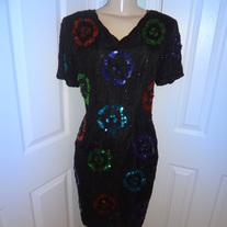 Vintage Black Colorful Ring Sequin Dress Size 12!!