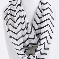 Black/White Chevron Infinity Scarf