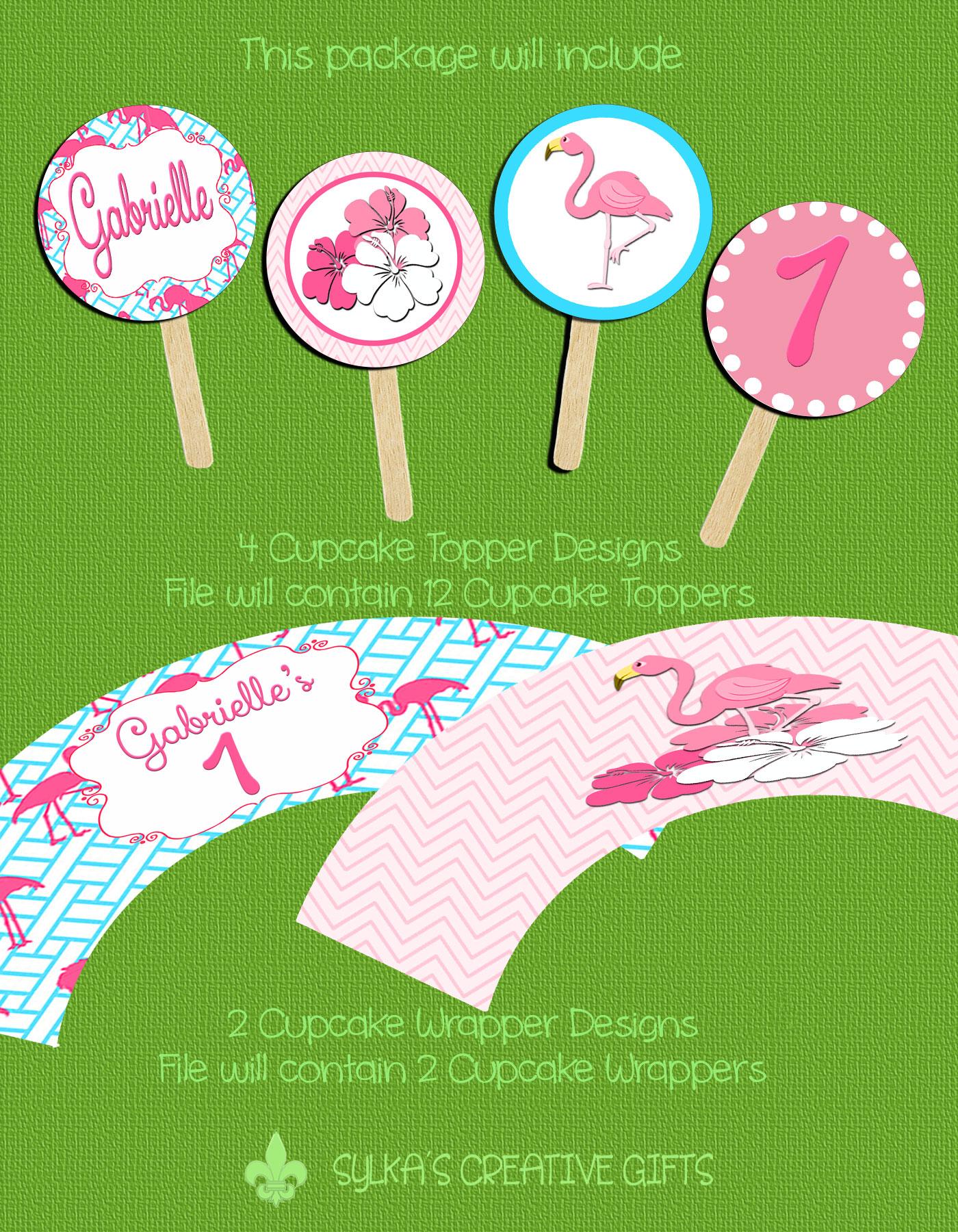 Flamingo Blues Personalized Birthday Invitation 1 Sided Birthday