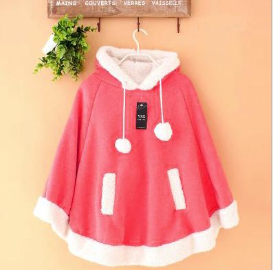 Japanese Kawaii Hooded Fleece Cloak Coat 183 Fashion Kawaii