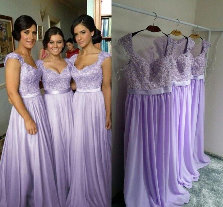 long bridesmaid dresses, lilac bridesmaid dress, lace bridesmaid ...
