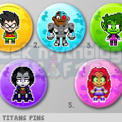 "Teen titans 1.5"" pin back button badges"