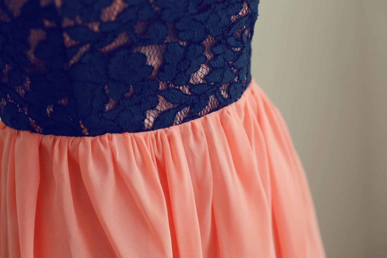 navy blue lace coral chiffon hi low prom dresses party dress bridesmaid dresses thumbnail 4