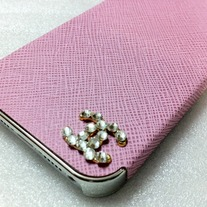 New Chic Bling Sparkle Luxury Designer Logo Inspired Pink PU Leather iPhone Case Cover
