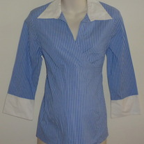 Blue/White Pin Stripe Career Shirt-Motherhood Maternity Size Medium  GS513