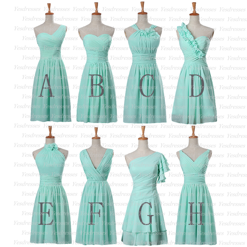 Mint bridesmaid dress, chiffon bridesmaid dresses, short bridesmaid ...