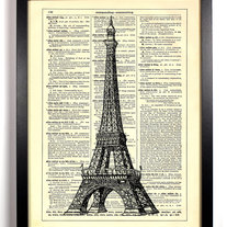 Image of Eiffel Tower, Paris, Vintage Dictionary Print, 8 x 10