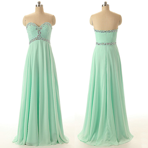 Mint prom dress, long prom dress, sweet heart prom dress, beading ...